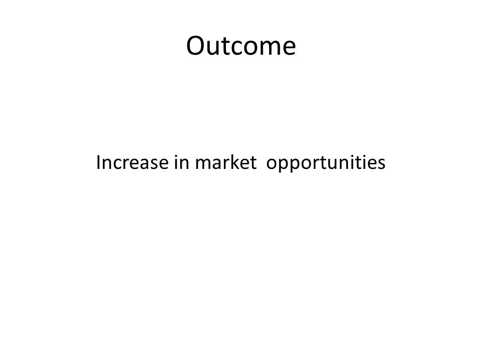 Outcome Increase in market opportunities