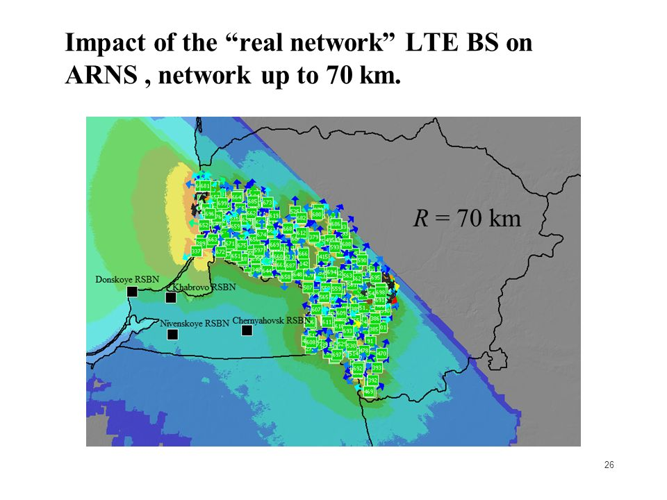 26 Impact of the real network LTE BS on ARNS, network up to 70 km. R = 70 km
