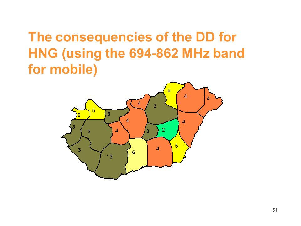 54 The consequencies of the DD for HNG (using the 694-862 MHz band for mobile)