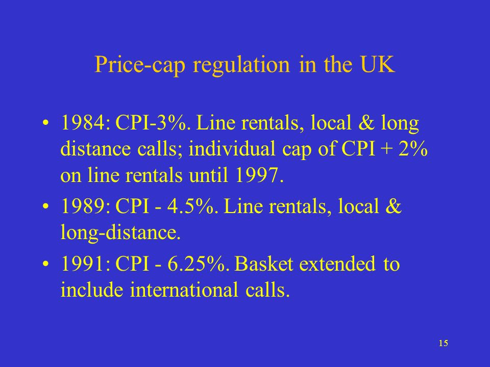 15 Price-cap regulation in the UK 1984: CPI-3%.
