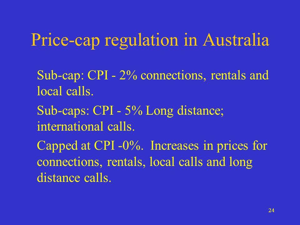 24 Price-cap regulation in Australia Sub-cap: CPI - 2% connections, rentals and local calls.
