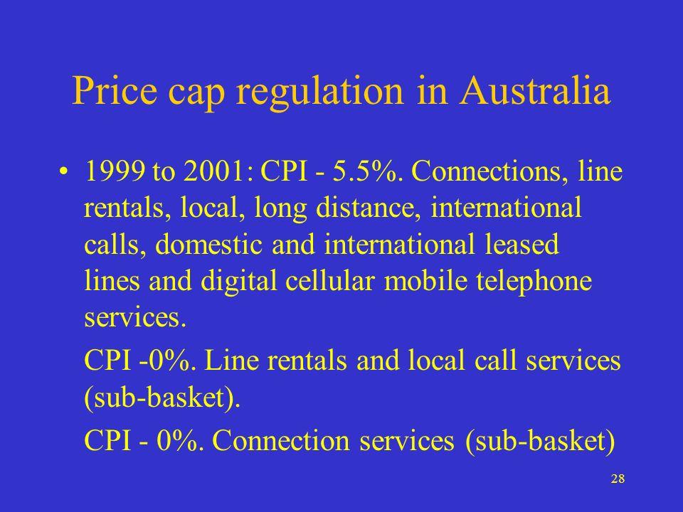 28 Price cap regulation in Australia 1999 to 2001: CPI - 5.5%.