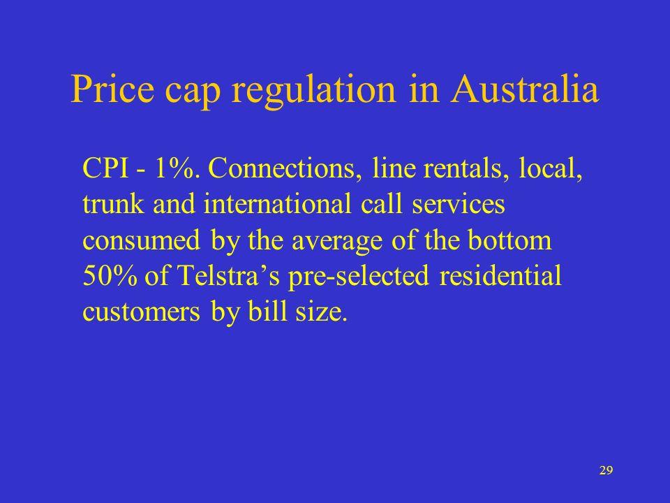 29 Price cap regulation in Australia CPI - 1%.