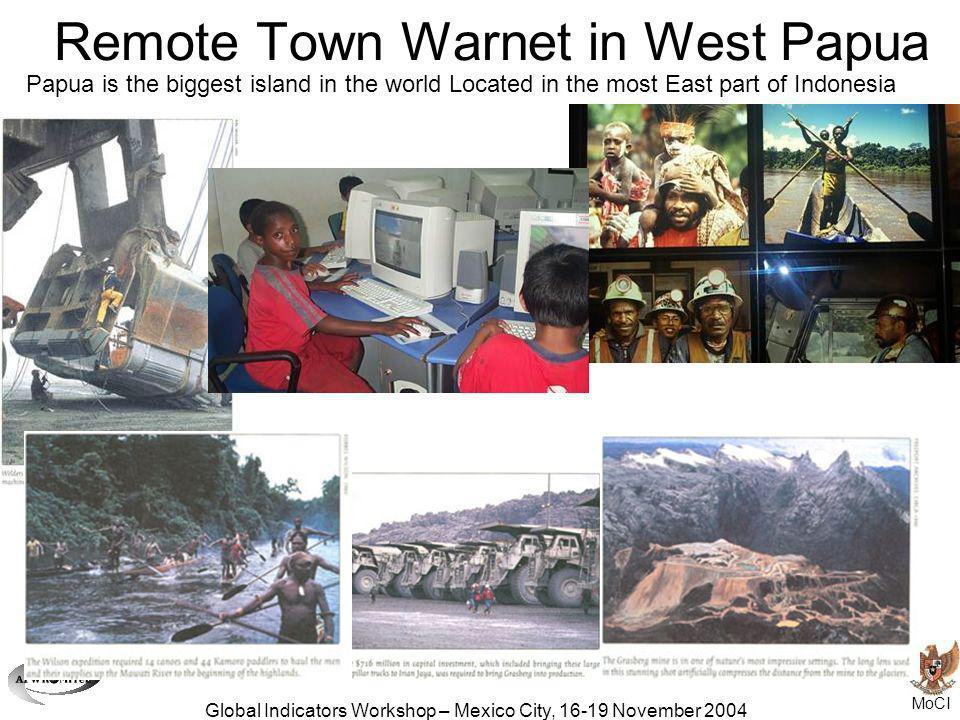 MoCI Global Indicators Workshop – Mexico City, 16-19 November 2004 Remote Town Warnet in West Papua Papua is the biggest island in the world Located i