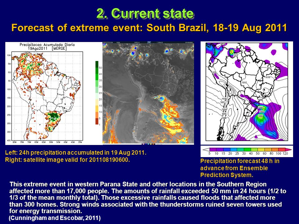 Forecast of extreme event: South Brazil, 18-19 Aug 2011 This extreme event in western Parana State and other locations in the Southern Region affected