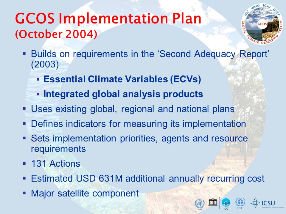 GCOS Implementation Plan (October 2004) Builds on requirements in the Second Adequacy Report (2003) Essential Climate Variables (ECVs) Integrated glob