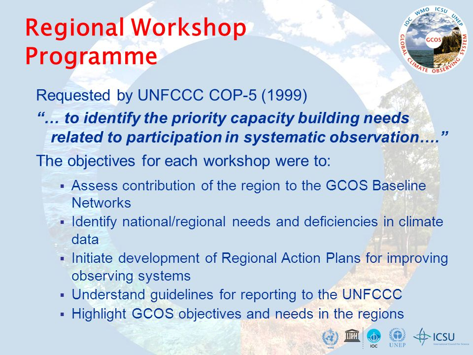 Regional Workshop Programme Requested by UNFCCC COP-5 (1999) … to identify the priority capacity building needs related to participation in systematic