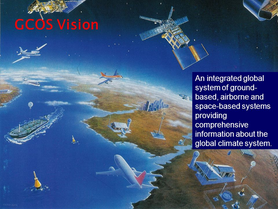 An integrated global system of ground- based, airborne and space-based systems providing comprehensive information about the global climate system. GC