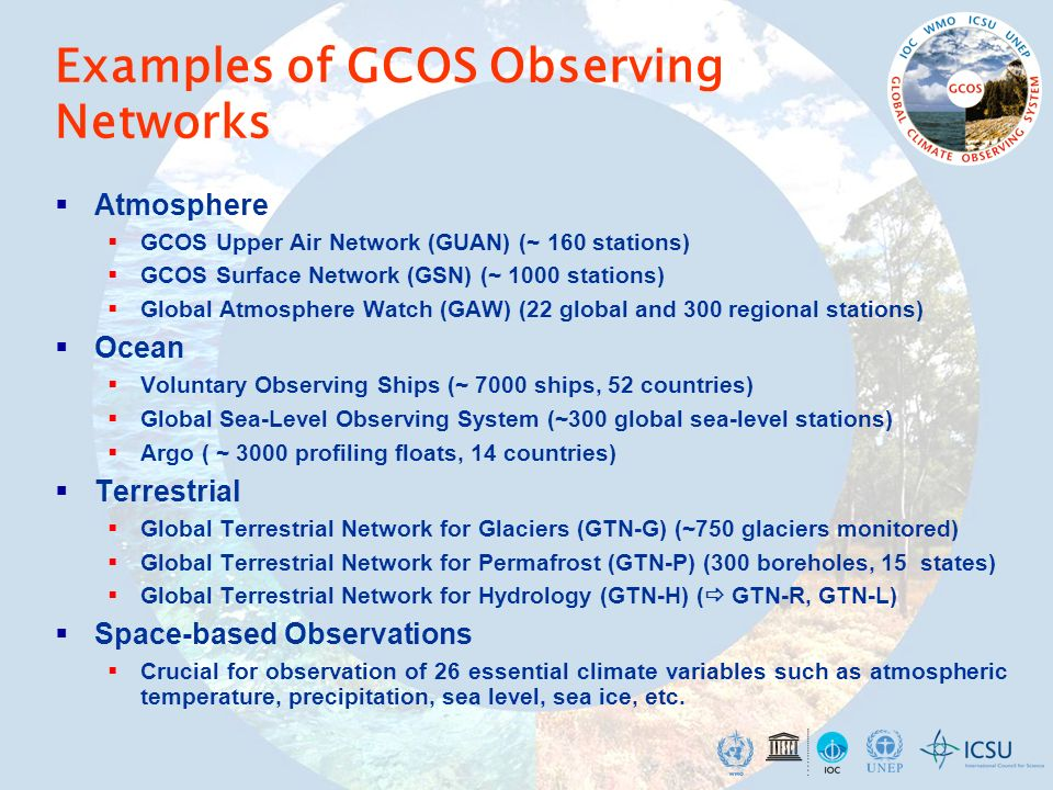 Examples of GCOS Observing Networks Atmosphere GCOS Upper Air Network (GUAN) (~ 160 stations) GCOS Surface Network (GSN) (~ 1000 stations) Global Atmo