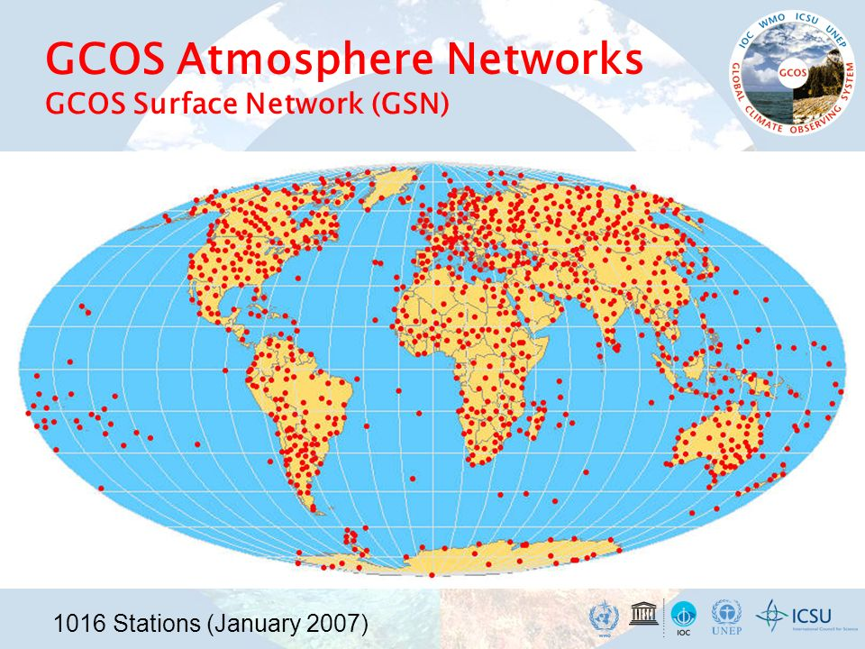 GCOS Atmosphere Networks GCOS Surface Network (GSN) 1016 Stations (January 2007)
