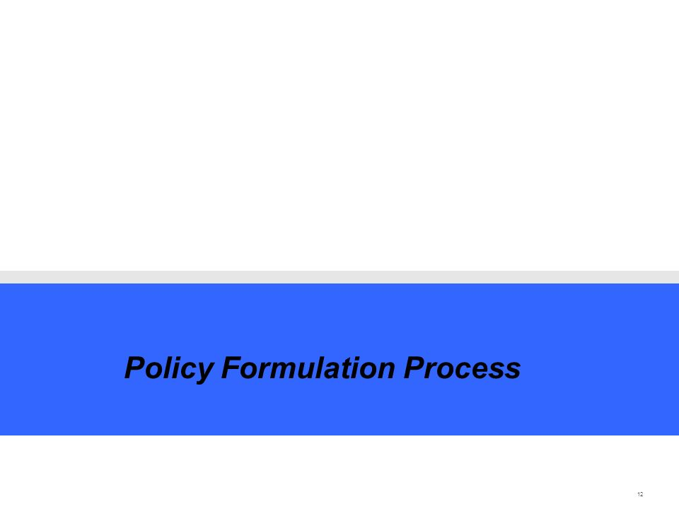 12 Policy Formulation Process