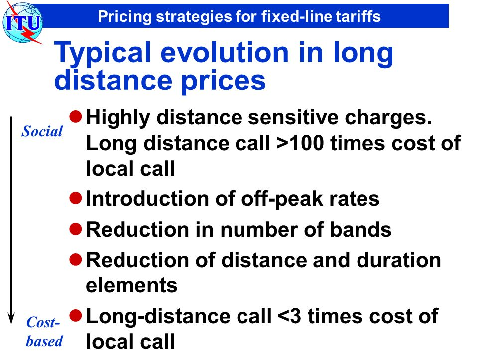 Pricing strategies for fixed-line tariffs Typical evolution in long distance prices Highly distance sensitive charges.