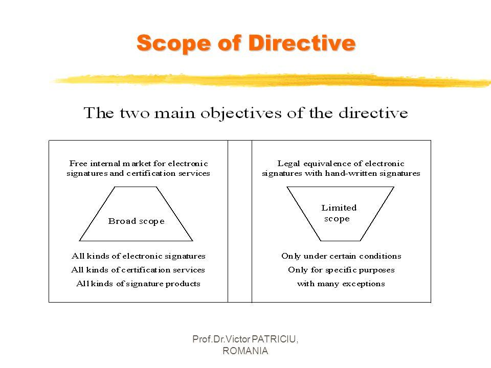 Prof.Dr.Victor PATRICIU, ROMANIA Scope of Directive