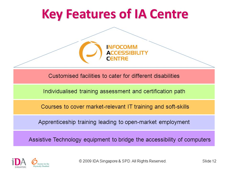 © 2009 IDA Singapore & SPD. All Rights Reserved.Slide 12 Key Features of IA Centre Assistive Technology equipment to bridge the accessibility of compu