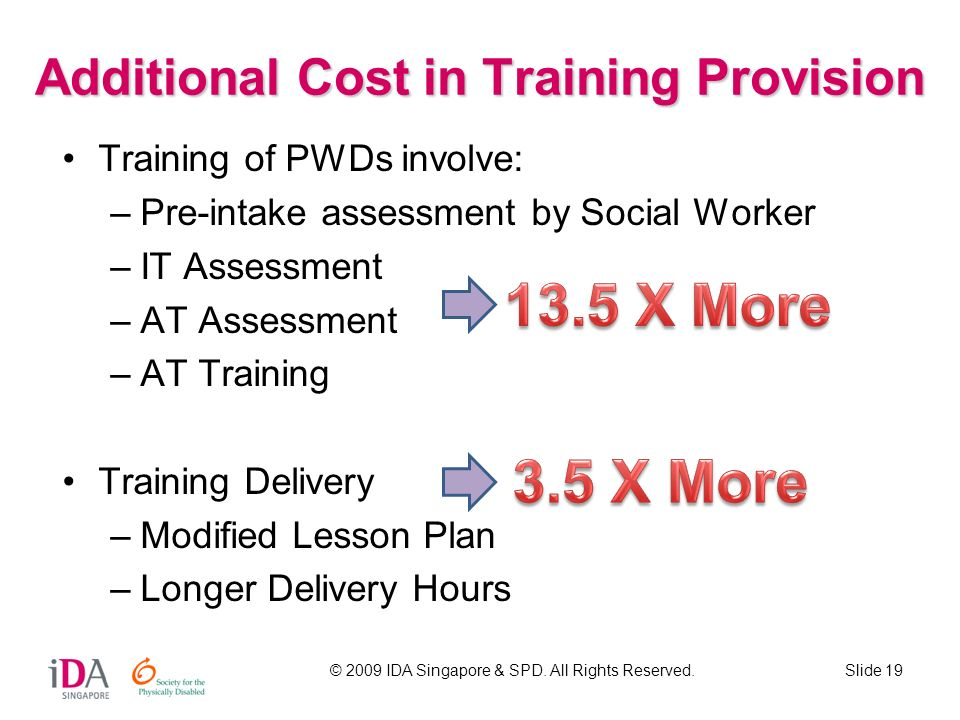 © 2009 IDA Singapore & SPD. All Rights Reserved.Slide 19 Additional Cost in Training Provision Training of PWDs involve: –Pre-intake assessment by Soc