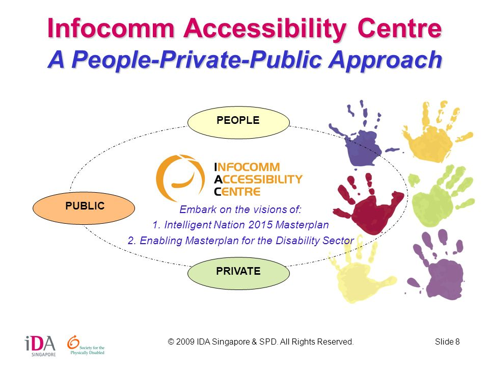 © 2009 IDA Singapore & SPD. All Rights Reserved.Slide 8 Infocomm Accessibility Centre A People-Private-Public Approach PEOPLE PUBLIC PRIVATE Embark on