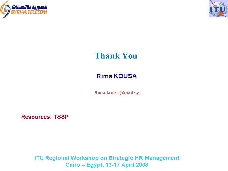 ITU Regional Workshop on Strategic HR Management Cairo – Egypt, 13-17 April 2008 Rima KOUSA Rima.kousa@mail.sy Resources: TSSP Thank You