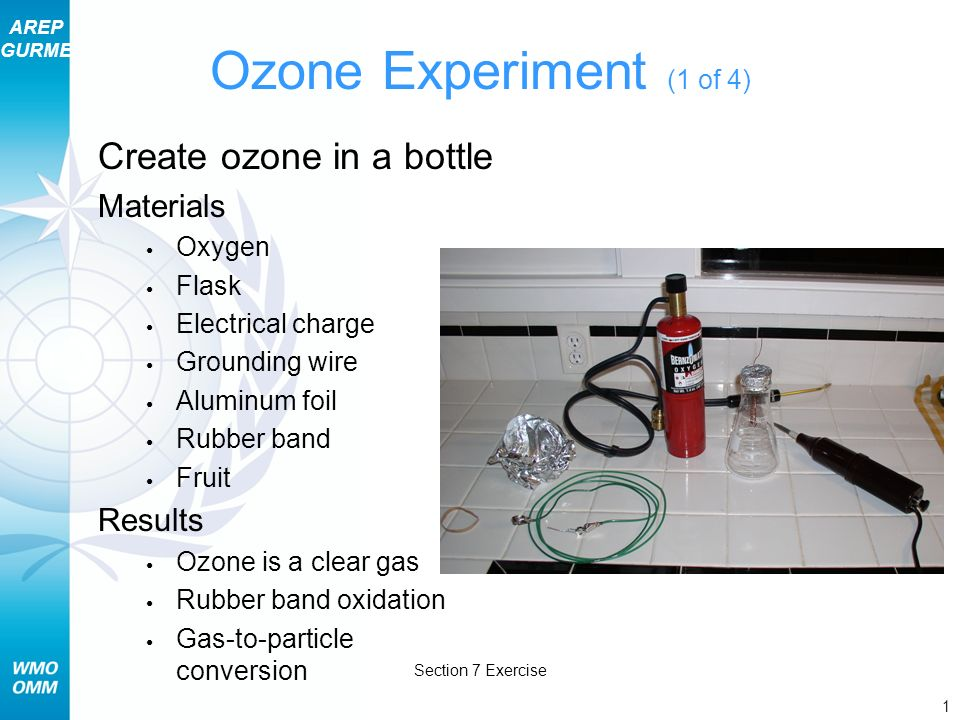 AREP GURME 1 Section 7 Exercise Ozone Experiment (1 of 4) Create ozone in a bottle Materials Oxygen Flask Electrical charge Grounding wire Aluminum foil Rubber band Fruit Results Ozone is a clear gas Rubber band oxidation Gas-to-particle conversion
