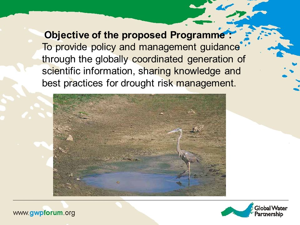 Objective of the proposed Programme : To provide policy and management guidance through the globally coordinated generation of scientific information, sharing knowledge and best practices for drought risk management.