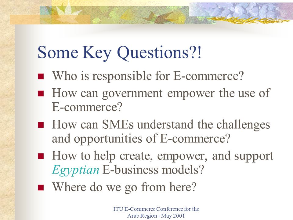 ITU E-Commerce Conference for the Arab Region - May 2001 Some Key Questions .