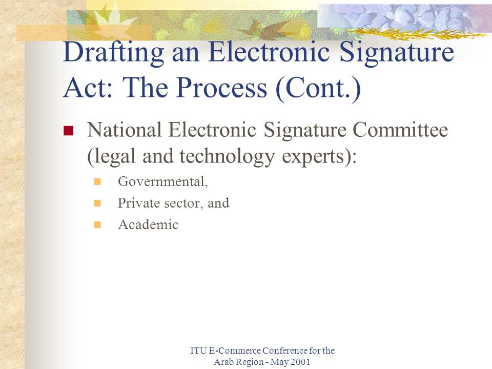 ITU E-Commerce Conference for the Arab Region - May 2001 Drafting an Electronic Signature Act: The Process (Cont.) National Electronic Signature Committee (legal and technology experts): Governmental, Private sector, and Academic