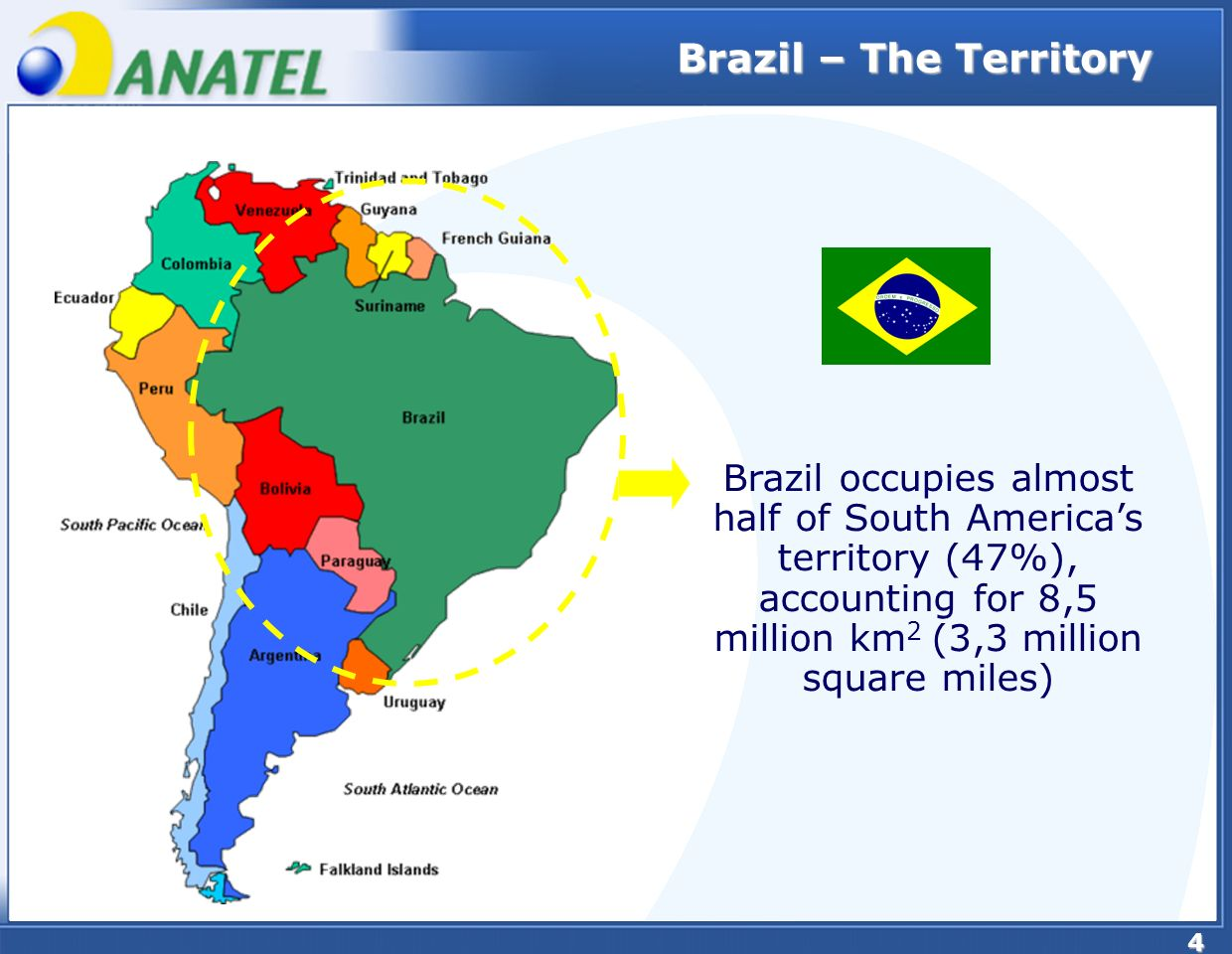 4 Brazil – The Territory Brazil occupies almost half of South Americas territory (47%), accounting for 8,5 million km 2 (3,3 million square miles)