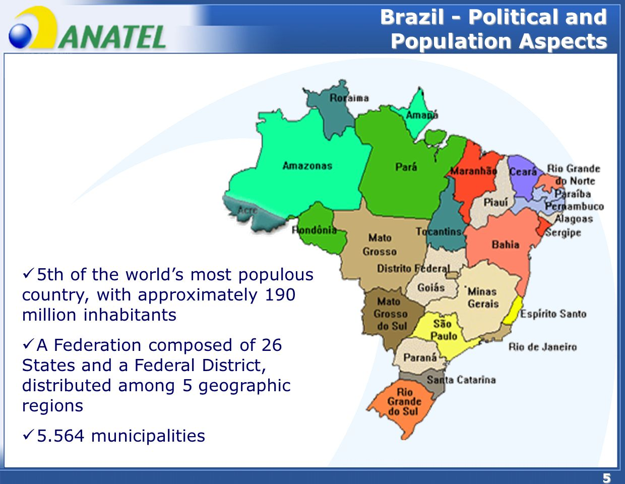 5 5th of the worlds most populous country, with approximately 190 million inhabitants A Federation composed of 26 States and a Federal District, distributed among 5 geographic regions municipalities Brazil - Political and Population Aspects