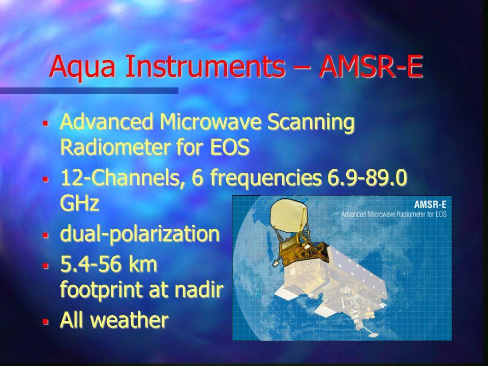 Aqua Instruments – AMSR-E Advanced Microwave Scanning Radiometer for EOS Advanced Microwave Scanning Radiometer for EOS 12-Channels, 6 frequencies 6.9