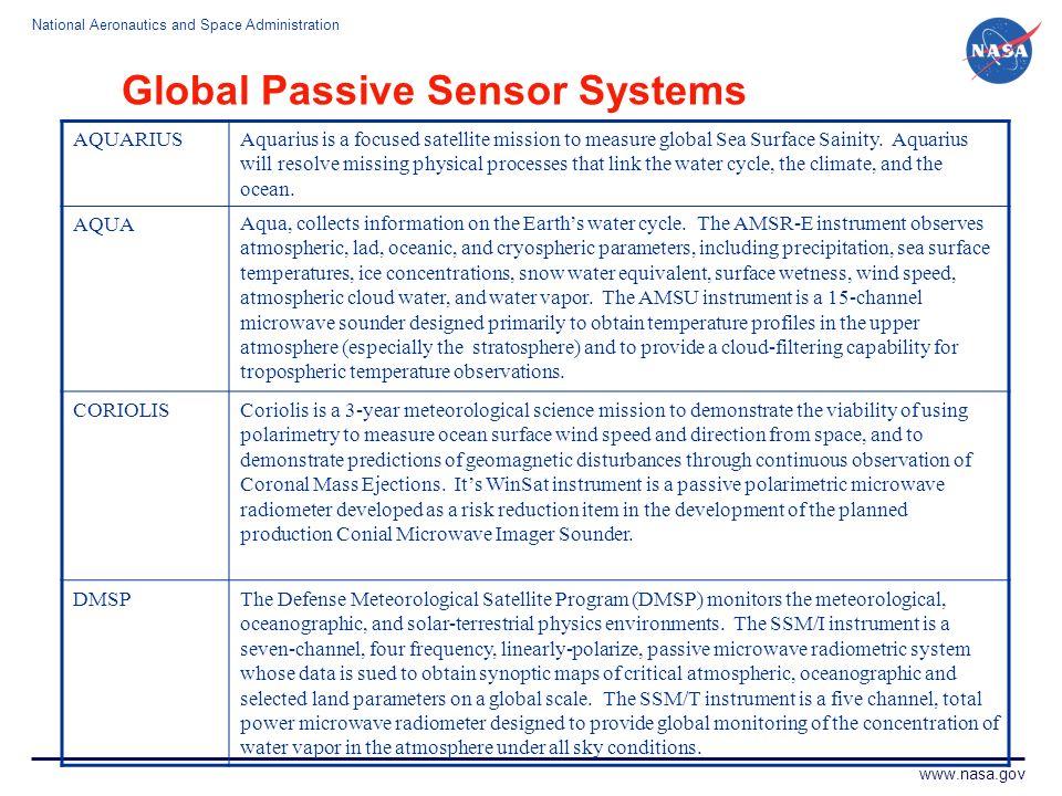 National Aeronautics and Space Administration www.nasa.gov Global Passive Sensor Systems AQUARIUSAquarius is a focused satellite mission to measure gl