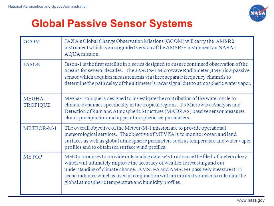 National Aeronautics and Space Administration www.nasa.gov Global Passive Sensor Systems GCOMJAXAs Global Change Observation Missions (GCOM) will carr