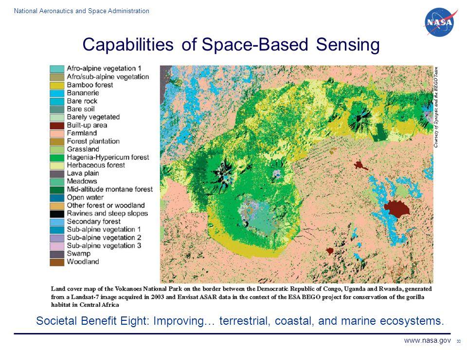 National Aeronautics and Space Administration www.nasa.gov 30 Capabilities of Space-Based Sensing Societal Benefit Eight: Improving… terrestrial, coas