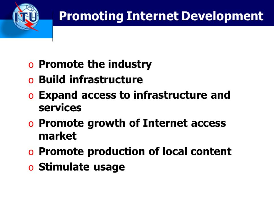 Promoting Internet Development o Promote the industry o Build infrastructure o Expand access to infrastructure and services o Promote growth of Internet access market o Promote production of local content o Stimulate usage