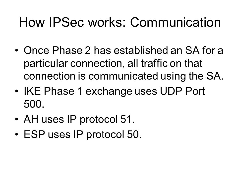 How IPSec works: Communication Once Phase 2 has established an SA for a particular connection, all traffic on that connection is communicated using th