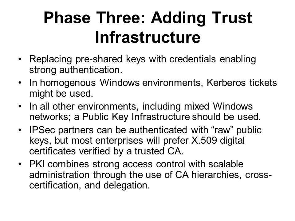 Phase Three: Adding Trust Infrastructure Replacing pre-shared keys with credentials enabling strong authentication. In homogenous Windows environments