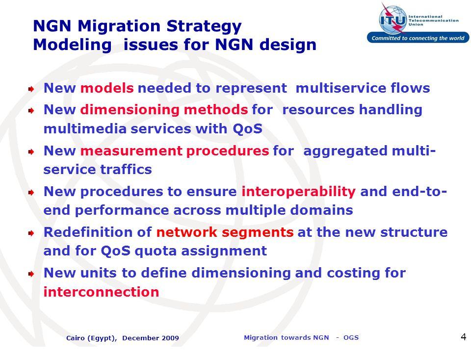 International Telecommunication Union Migration towards NGN - OGS Cairo (Egypt), December 2009 25 Network Architecture towards NGN: IMS Architecture