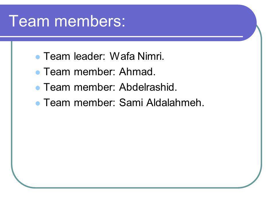 Team members: Team leader: Wafa Nimri. Team member: Ahmad.