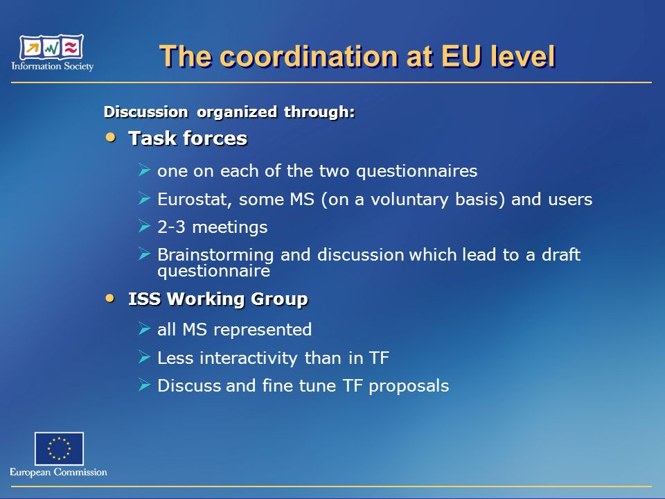 Discussion organized through: Task forces Task forces one on each of the two questionnaires Eurostat, some MS (on a voluntary basis) and users 2-3 meetings Brainstorming and discussion which lead to a draft questionnaire ISS Working Group ISS Working Group all MS represented Less interactivity than in TF Discuss and fine tune TF proposals The coordination at EU level