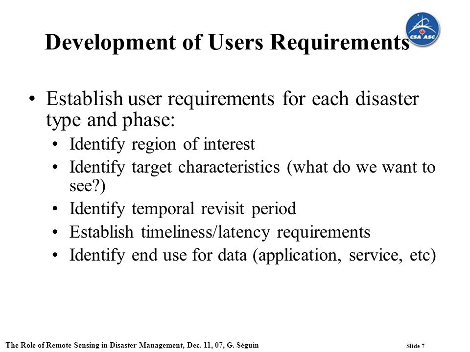 Slide 7 The Role of Remote Sensing in Disaster Management, Dec.