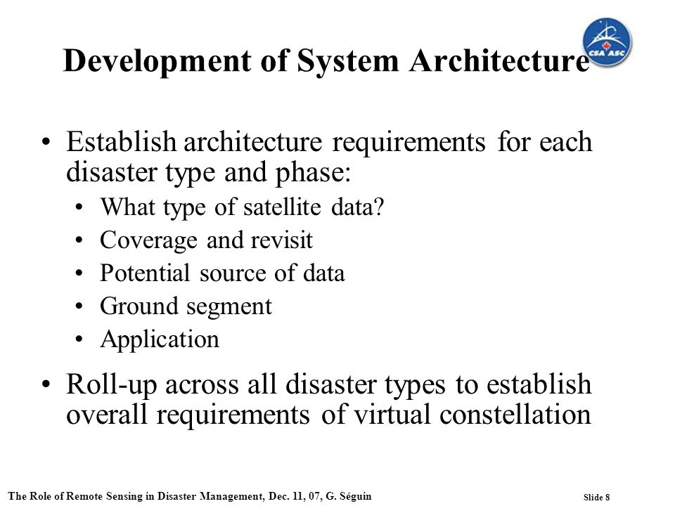 Slide 8 The Role of Remote Sensing in Disaster Management, Dec.