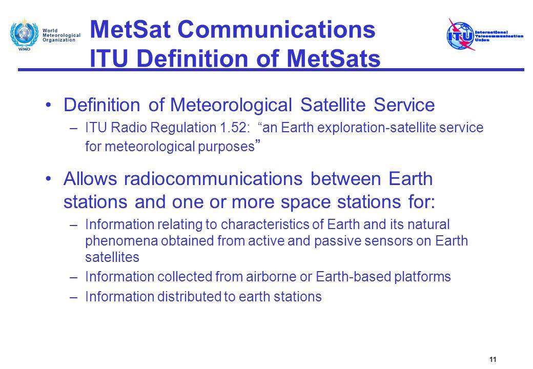 MetSat Communications ITU Definition of MetSats Definition of Meteorological Satellite Service –ITU Radio Regulation 1.52: an Earth exploration-satell