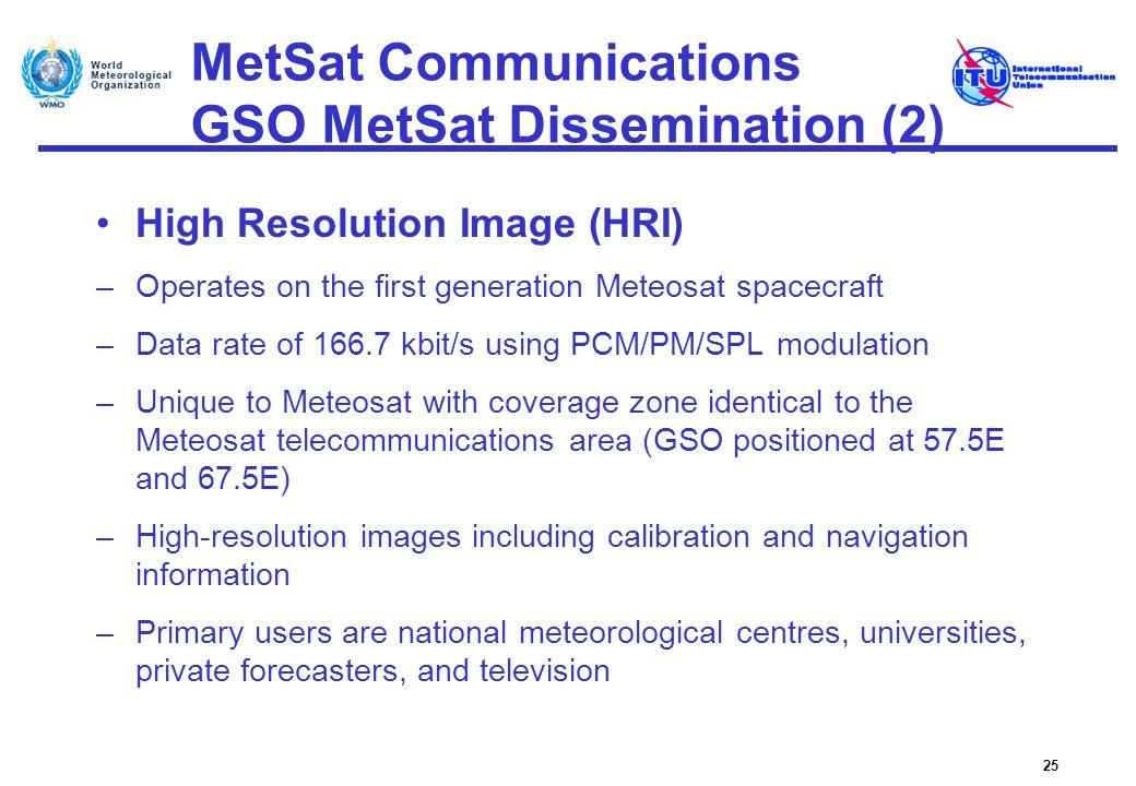 MetSat Communications GSO MetSat Dissemination (2) High Resolution Image (HRI) –Operates on the first generation Meteosat spacecraft –Data rate of 166