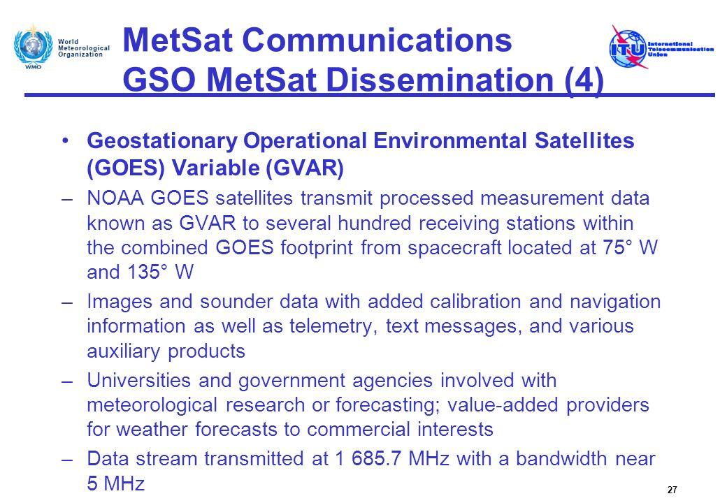 MetSat Communications GSO MetSat Dissemination (4) Geostationary Operational Environmental Satellites (GOES) Variable (GVAR) –NOAA GOES satellites tra
