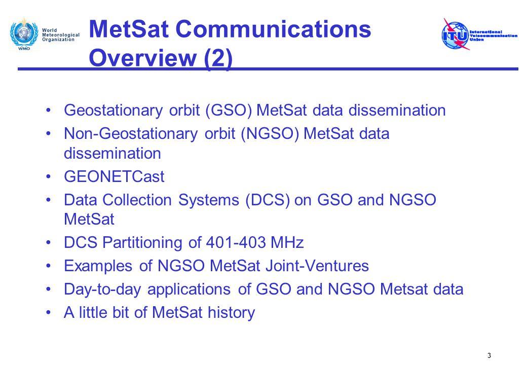 MetSat Communications Overview (2) Geostationary orbit (GSO) MetSat data dissemination Non-Geostationary orbit (NGSO) MetSat data dissemination GEONET