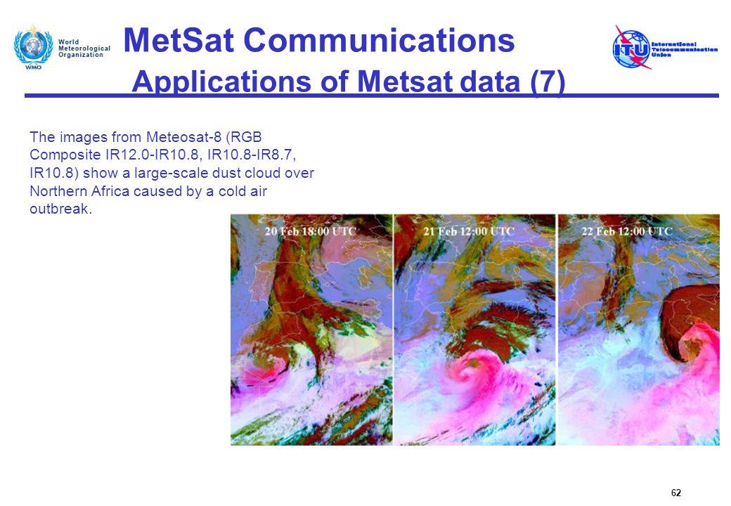 MetSat Communications Applications of Metsat data (7) 62 The images from Meteosat-8 (RGB Composite IR12.0-IR10.8, IR10.8-IR8.7, IR10.8) show a large-s