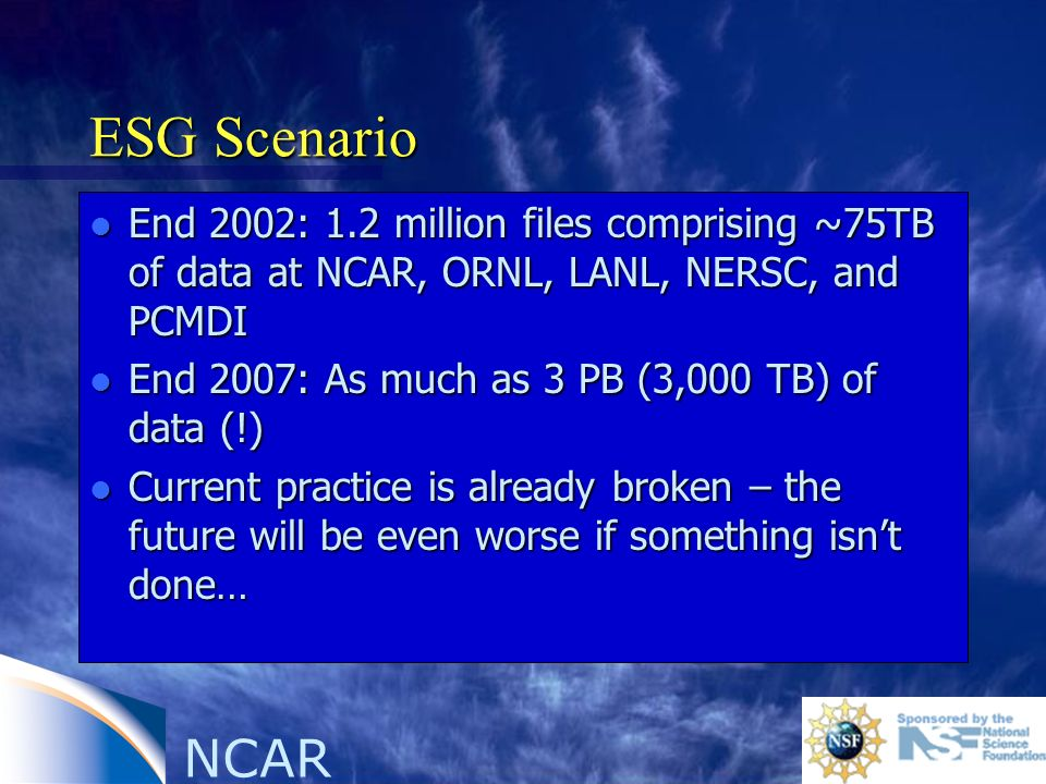 NCAR ESG Scenario l End 2002: 1.2 million files comprising ~75TB of data at NCAR, ORNL, LANL, NERSC, and PCMDI l End 2007: As much as 3 PB (3,000 TB) of data (!) l Current practice is already broken – the future will be even worse if something isnt done…