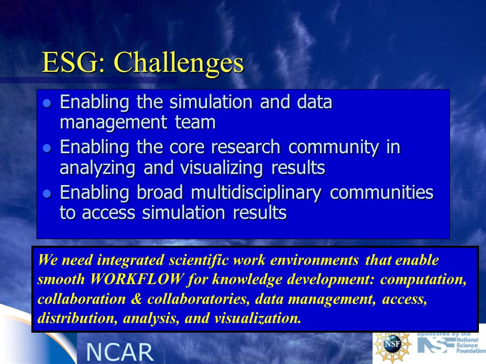 NCAR ESG: Challenges l Enabling the simulation and data management team l Enabling the core research community in analyzing and visualizing results l Enabling broad multidisciplinary communities to access simulation results We need integrated scientific work environments that enable smooth WORKFLOW for knowledge development: computation, collaboration & collaboratories, data management, access, distribution, analysis, and visualization.