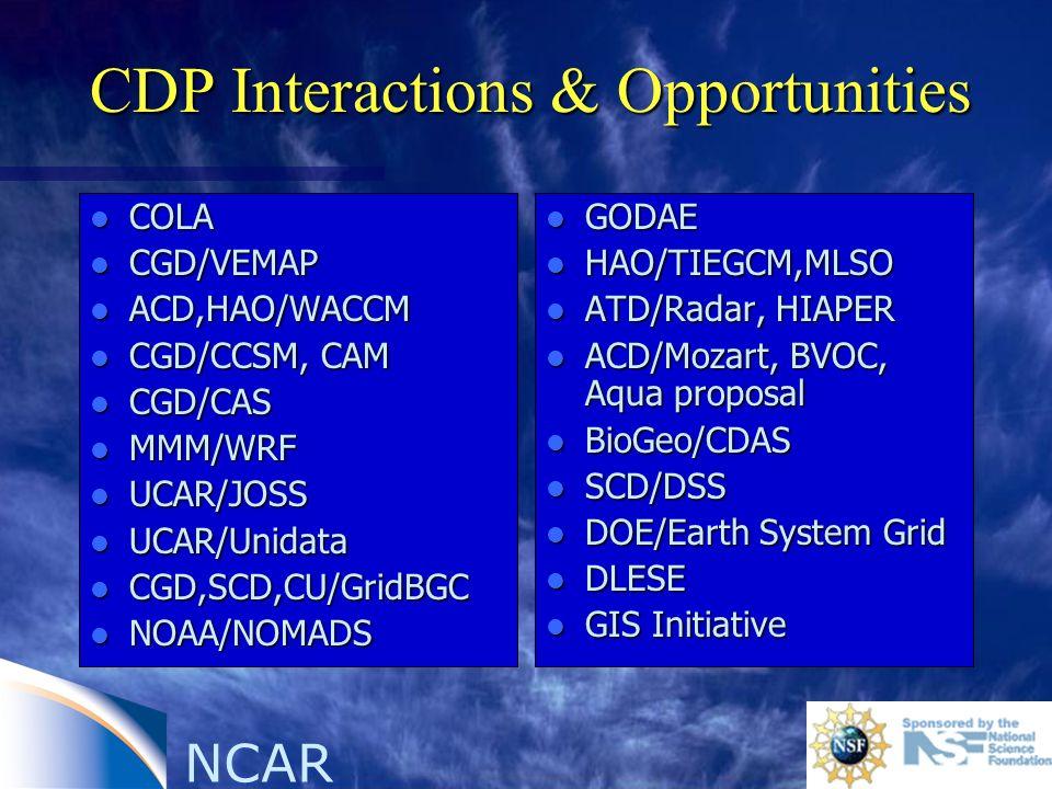 NCAR CDP Interactions & Opportunities l COLA l CGD/VEMAP l ACD,HAO/WACCM l CGD/CCSM, CAM l CGD/CAS l MMM/WRF l UCAR/JOSS l UCAR/Unidata l CGD,SCD,CU/G