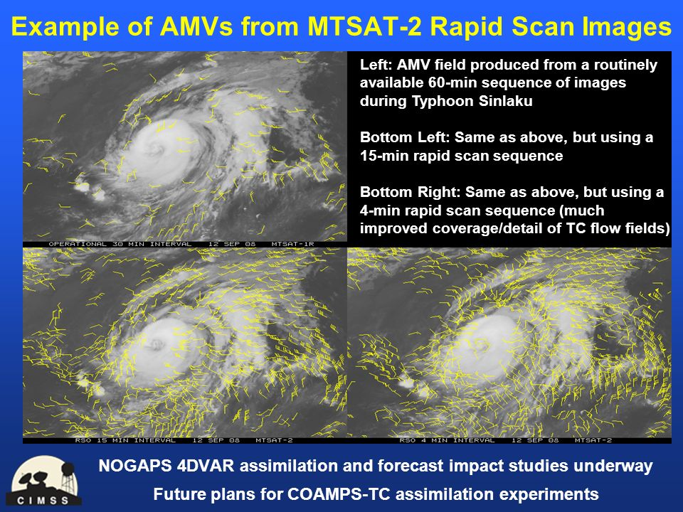 Example of AMVs from MTSAT-2 Rapid Scan Images NOGAPS 4DVAR assimilation and forecast impact studies underway Future plans for COAMPS-TC assimilation