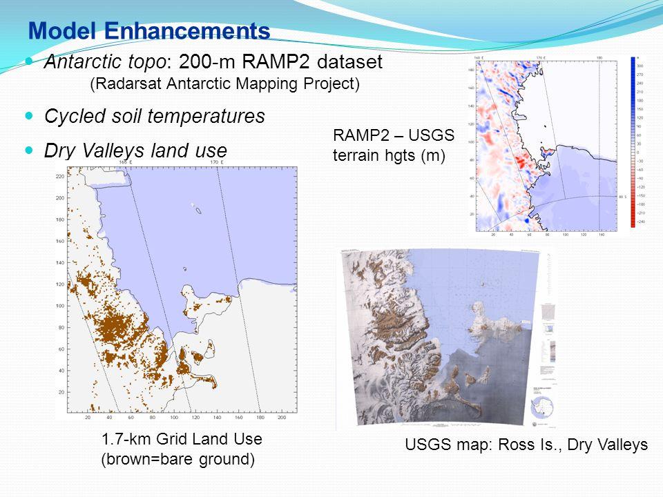 Model Enhancements Antarctic topo: 200-m RAMP2 dataset (Radarsat Antarctic Mapping Project) Cycled soil temperatures Dry Valleys land use 1.7-km Grid