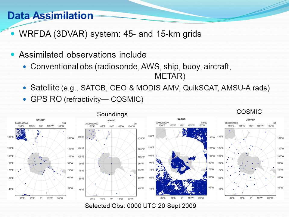 Data Assimilation WRFDA (3DVAR) system: 45- and 15-km grids Assimilated observations include Conventional obs (radiosonde, AWS, ship, buoy, aircraft,